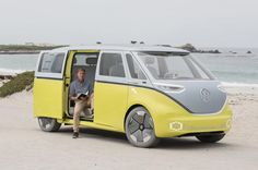 The new electric ID Buzz goes into production in 2022 - inspired by the classic VW Microbus camper, it promises to be fully autonomous. Volkswagen Bus, Vw T1, Electric Van, Mini Vans, Bmw Isetta, Bus Camper, Marco Polo, First Drive, Custom Trucks