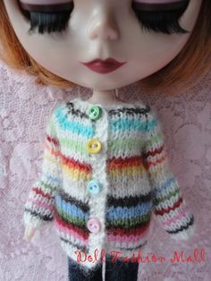Hand Knitted rainbow cardigan for Blythe Barbie by Dollfashionmall, $20.00