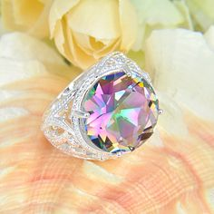 2014 hot sale 925 sterling silver plated Round Delicate mystic topaz Ring rainbow jewelry