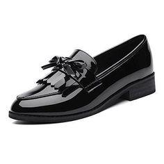 Oferta: 36.99€. Comprar Ofertas de La primavera de estilo británico de las mujeres modernas con la borla de charol de tacón bajo Kurzschaft Casual Zapatos Mocas barato. ¡Mira las ofertas!