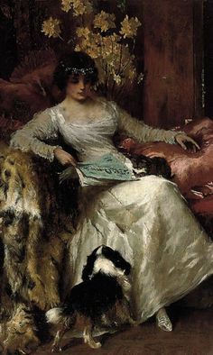 ✉ Biblio Beauties ✉ paintings of women reading letters & books - Frederic Lord Leighton - In the lap of luxury -  Arthur Wardle (British, 1864-1949)