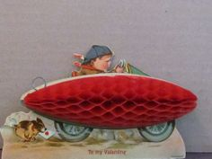 Charles Twelvetrees Valentine: Vtg Rare zeppelin motorcycle driving boy dog Germany Valentine honeycomb unused