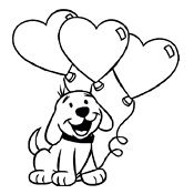 Kleurplaat hond liefde ballon