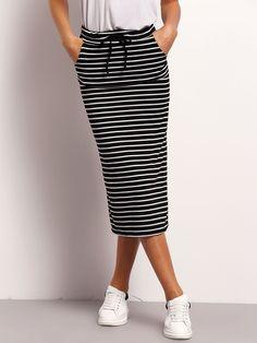 Falda+rayas+cintura+con+cordón+-negro+blanco+10.19