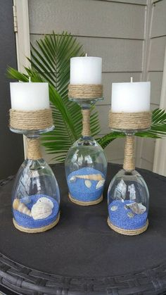 Seashell and Sand Wine Glass Candle Holder (Set of - Christmas Crafts Diy Wine Glass Crafts, Wine Bottle Crafts, Wine Bottles, Seashell Crafts, Beach Crafts, Beach Themed Crafts, Seashell Candles, Seashell Projects, Wine Glass Candle Holder
