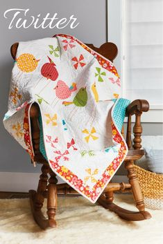 Adorable baby quilt alert! A simple, staggered arrangement of colorful pinwheel quilt blocks frames a sweet ensemble of appliquéd birds. Two different bird appliqués give you the option to create you own custom flock on your quilt top. Get the quilt pattern or the quilt kit and quilt backing while supplies last!