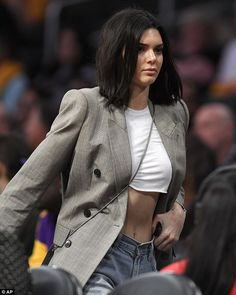 Hello there: Kendall Jenner was spotted courtside at the Los Angeles Lakers versus Los Ang...