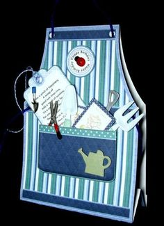 GARDENING APRON for MEN Tent Card Mini Kit on Craftsuprint designed by Janet Briggs - made by Dianne Jackson