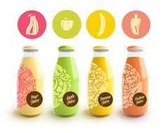 The soft color combinations, along with the detailed design, make these fruit drinks appealing. When looking closer at the designs, one would notice that the shapes representing fruits are actually created with typography.