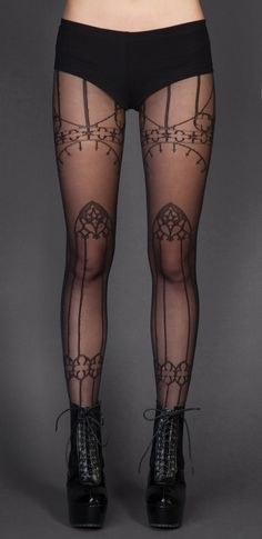 Nu Goth Fashion Tip Nº3: Cathedral Print Pantyhose - http://ninjacosmico.com/22-fashion-tips-nu-goth/