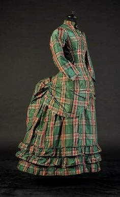 Silk plaid day-dress, c. 1875; private collection.