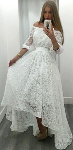 Sexy Off Shoulder Lace Long Irregular Dress