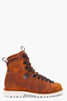 DIEMME Brown Distressed Leather Tibet Boots