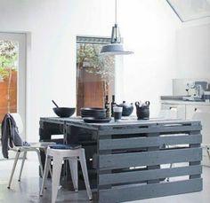 DIY Möbel aus Europaletten kücheninsel küche massive
