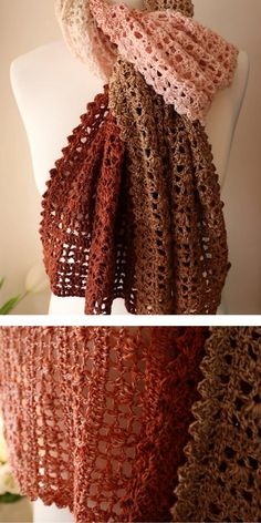 Autumn and winter are getting closer and closer, so remember to protect your neck! Shawl is a real must have during bad weather, but in addition to the Crochet Shawl Free, Crochet Shawls And Wraps, Crochet Scarves, Crochet Clothes, Crochet Hats, Knit Crochet, Crocheted Scarves Free Patterns, Lace Shawls, Crochet Headbands