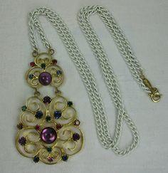 Napier Rhinestone Necklace Gripoix Pendant by VintageSparkleyBits