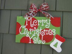 Merry Christmas Ya'll Sign by lotsadotsdesigns on Etsy, $26.99