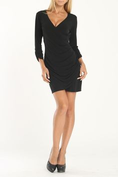 Hale Bob Faux Wrap Dress In Black - Beyond the Rack