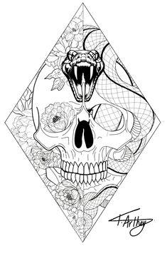 Geometric tattoo design Diamond / tattoo / design / black and white / fine line / snake / flowers / skull / peonies / lotus Diamond Tattoo Designs, Diamond Tattoos, Geometric Tattoo Design, Skull Tattoo Design, Tattoo Design Drawings, Tattoo Outline Drawing, Geometric Tattoo Diamond, Leg Tattoos, Black Tattoos