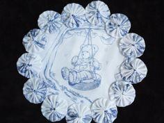 Tire Swing Teddy Bear Blue and White Toile Yo Yo by SursyShop, $8.00