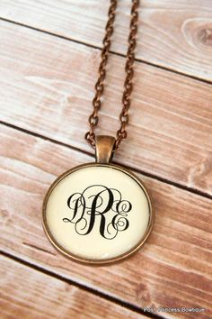 Monogram Necklace Bridesmaid Gift Antique Copper Personalized Jewelry via Etsy