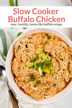 This healthy Buffalo chicken is made right in the slow cooker with ranch seasoning for a delicious, healthy, easy version of everyone's favorite buffalo chicken. Unique Recipes, Paleo Recipes, Slow Cooker Recipes, Crockpot Recipes, Chicken Recipes, Ethnic Recipes, Bread Recipes, Slender Kitchen, Pinterest Recipes