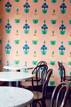 Angel Face: A Lyonnaise-Style Bar in Portland, Oregon - Remodelista Modern Home Bar, Interior Architecture, Interior Design, Cafe Design, Hand Painted Walls, Love Wallpaper, Peach Wallpaper, Tiles Texture, Textures Patterns