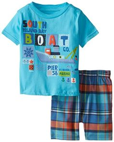 Kids Headquarters Baby Boys' Blue Tee with Plaid Shorts South Boat Boys Summer Outfits, Little Boy Outfits, Summer Boy, Baby Boy Outfits, Kids Outfits, Baby Boy Suit, Baby Boys, Short Niña, Baby Romper Pattern