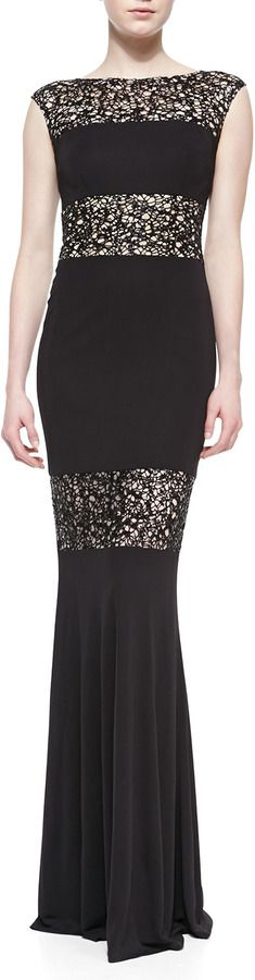 #sale  David Meister Cap-Sleeve Lace Illusion Gown, Black   jaglady