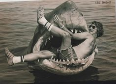 Jaws' mouth looks like a great place to take a rest:   34 Behind The Scenes Photos That Will Change The Way You Look At Classic Movies
