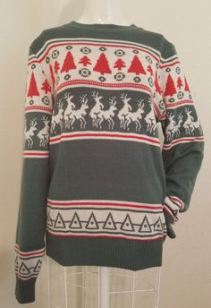 S Tipsy Elves Green/Red Naughty Humping Reindeer Nordic Ugly Christmas Sweater #TipsyElves #Crewneck