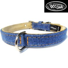 Original Denim Dog Collar | The Dog Bar - This is a classically stylish dog collar made from the highest quality denim and genuine leather materials. It provides a casual look for both boys and girls.  Made in NYC and available only at The Dog Bar.                                                                                                                                                                                 More