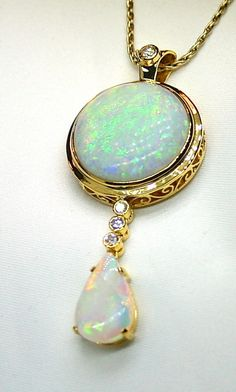 Solid Opal 18K Yellow Gold Pendant with Diamond Accents