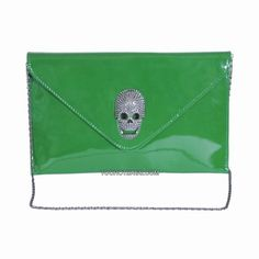 Gone are the days when you must squeeze your lipstick, wallet, and other whatnots into an itty bitty clutch. THE QUEEN'S STUDDED SKULL OVERSIZED CLUTCH offers space for your essentials for formal events. Edgy Girls, Studded Handbags, Oversized Clutch, Skulls, Continental Wallet, Purses And Bags, Queen, Essentials, Lipstick