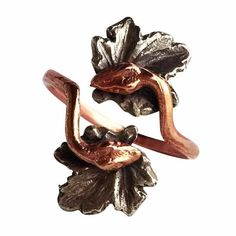 Double Snake Ring with Ivy in Rose Gold by Chase and Scout. Curious handmade jewelry for men and women, based in Austin Texas.