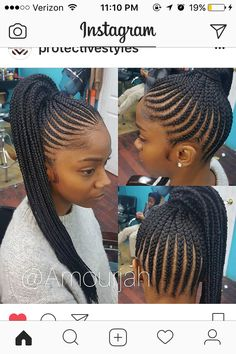 Quick Hairstyles, Boho Hairstyles, Feathered Hairstyles, Cornrow Updo Hairstyles, Black Girls Hairstyles, Ponytail Hairstyles, Older Women Hairstyles, Cornrows Updo, Natural Hairstyles