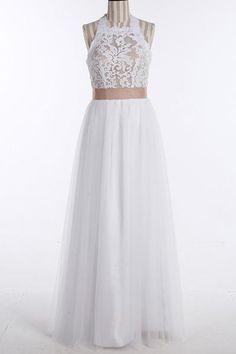 Simple Jewel Sleeveless Floor-Length Lace Top Wedding Dress-Pgmdress