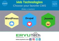 -Web Technologies- Choose your favorite CMS below. (make a reaction) 👍 - Wordpress ❤ - Drupal 😆 - Joomla Note: LIKE us ➡️ ERYUTech Web Technology, Drupal, Infographics, Your Favorite, Wordpress, Passion, Note, How To Make, Infographic