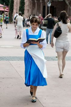 Omg! So I always wanted to work in Disney as belle, but I just wanted to dress as her in blue and walk the parks like her walking through town reading and just casually saying hello to people, and apparently it's a real job in the parks!?!?  Ahhhhhh, what!?!?!