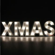 Wooden LED Letter ' XMAS ' Light Sign Battery Marquee Letters Christmas Wood