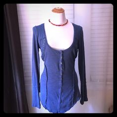 Free people blue crochet shirt Would go dashing with jeans  Free People Tops