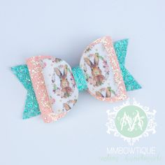 Excited to share the latest addition to my shop: Vintage Bunny Bow Headband, Baby Girl Headband, Dark Mint and Peach Glitter Bow, Easter Bows Handmade Hair Bows, Diy Hair Bows, Making Hair Bows, Diy Bow, St Patricks Day Hair Bows, Bow Display, Bow Accessories, Girls Bows, Baby Bows