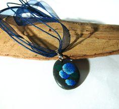 Hand painted stone pendant - Blue hydrangea, wearable art