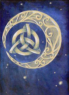 Celtic knot moon with triquetra Triquetra, Pentacle, Celtic Symbols, Celtic Art, Celtic Knots, Celtic Dragon, Celtic Patterns, Celtic Designs, Ciel Nocturne