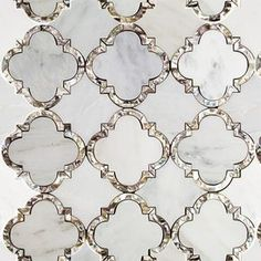 Cassie Chapman Eva Pearl Marble Arabesque Tile Tilebar Mother Of Pearl Tile Mother Of Pearl Kitchen Backsplash Bathroom Tile Marble Mosaic, Mosaic Tiles, Tiling, Cement Tiles, Wall Tiles, Calacatta Marble, House Tiles, Room Tiles, Sicis Mosaic