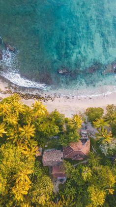 Aerial view, beach, coast, villa, 720x1280 wallpaper