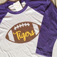 Raglan Football Shirt, Tiger Football Shirt, LSU Football Raglan, Spririt Shirt, Football Shirt, Football Raglan  A personal favorite from my Etsy shop https://www.etsy.com/listing/487252943/raglan-football-shirt-tiger-football