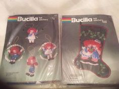 Bucilla Raggedy Ann & Andy Ornaments And A Gift For You Stocking Kit #Bucilla