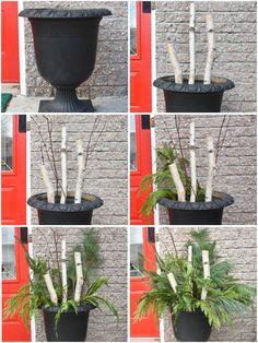 Christmas Urns, Christmas Planters, Outdoor Christmas Decorations, Christmas Holidays, Christmas Ideas, Winter Planter, Diy Weihnachten, Creations, Front Porch