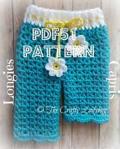 Baby daisy pants - spring longies or capris - crochet pattern - newborn size - PDF51 digital download